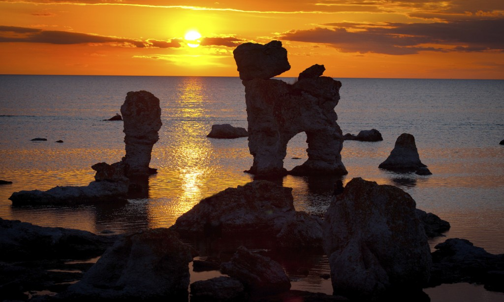 Limestone stacks during sunset in Sweden.GN